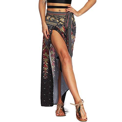 Nuofengkudu Femme Jupe Portefeuille Longue Hippie Chic Boheme Ete Taille Haute Attacher Fendue...