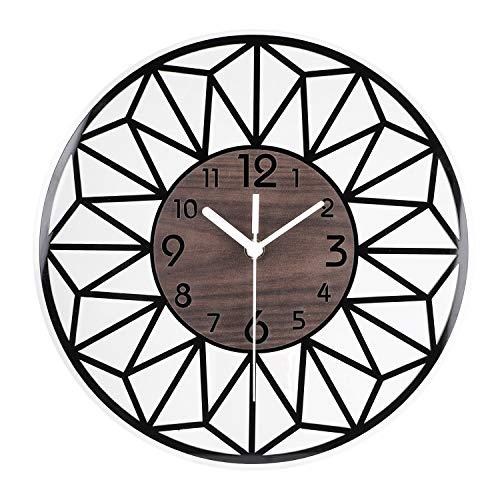 ENCOFT Horloge Murale Acrylique Vintage Pendule Murale Silencieuse Décoration Design pour Salon Chambre Bureau Café, 30cm x 30cm, Marron