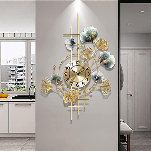 Horloge Murale Silencieuse Feuille de Ginkgo en Métal, Créatif Horloge à Quartz à Piles, Décoration Murale pour Salon Chambre Salle à Manger Cuisine Bureau