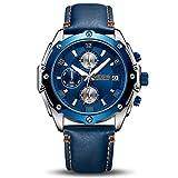 MEGIR : Montre hommes étanche chronographe sport analogique en cuir bleu
