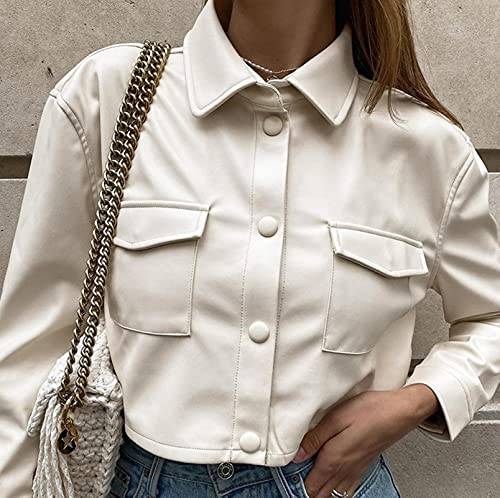 Mode Faux Cuir Crocped Jacket Femmes Automne Vintage Manteaux élégants Mesdames PU Harajuku Punk Style Punk Opond Hiver prix et achat