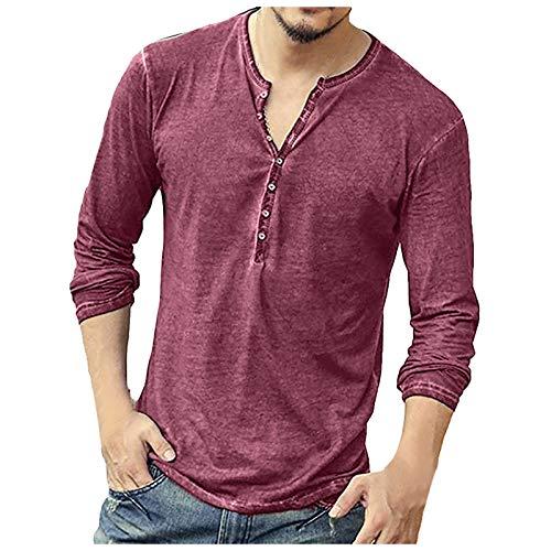 BIBOKAOKE T-shirt à manches longues et col en V pour homme - Couleur unie - Coupe droite - Coupe slim - Respirant - Décontracté - Fitness - Sport - Beige - Medium