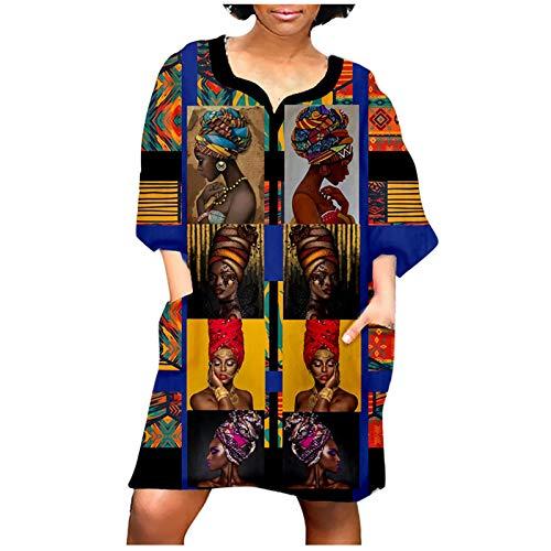 ASHOP Casual Grande Taille Bohémien O-Col Robe Gilet Femme Style Ethnique Imprimé Femmes Boho Florales sans Manches Longue Robe De Cocktail Africaine