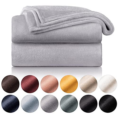 Blumtal - Couverture Polaire 220 x 240 - Plaid Gris - Plaid pour Canapé - Plaid Cocooning - Couverture Polaire Epaisse, Moelleuse, Douce Et Chaude - Haute Qualité