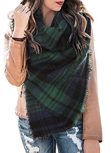 CheChury Écharpe Chale Femme Cachemire Chaud Automne Hiver Grand Plaid Tissu Glands Foulard Grand Tartan Ecossaise Stole pour Automne et Hiver