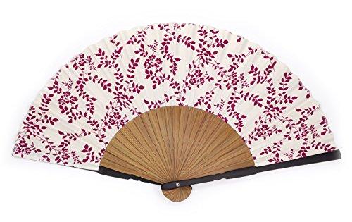 LIDA LYDI Eventail Japonais en Bambou et Coton. Motif Fleuri. Couleur Prune et Ivoire.