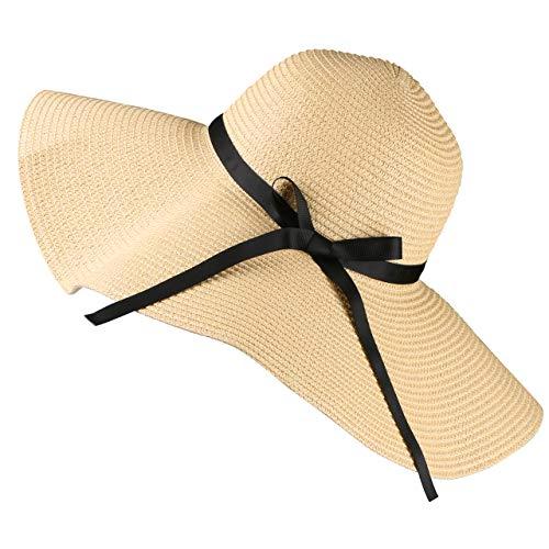 Tencoz Chapeau de Soleil en Paille pour Femme, Chapeau extérieur de Plage d'été à Bord Large et Pliable UPF 30 - diamètre 18.9 prix et achat