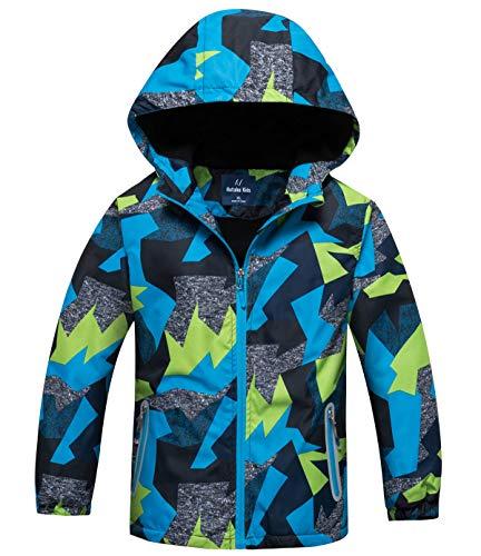 HuTuHu Softshell Coupe Vent Enfant Jacket Veste Coupe-Pluie Garçon Blouson de Ski Polaire...
