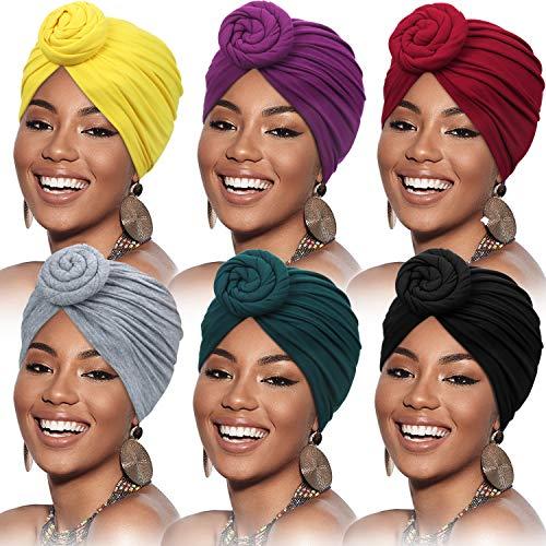6 Pièces Turban Africain de Femmes Bonnet Nœud de Fleur Bonnet Pré-Noué Headwrap (aune,...