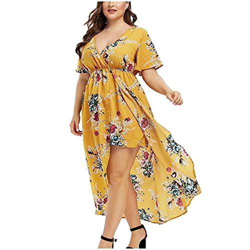 AZEWO Robe Femme Grande Taille Longue, Chic Robe Imprimée Fleurs Femmes Été Sexy Irrégulier Col V Robe de Plage Casual Decontractée pour Vacance Grande Taille Robe Longue prix et achat