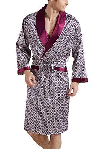 FEOYA - Peignoir de Bain Manches 3/4 Robe de Chambre Homme en Soie Artificielle Kimono Homme Grande Taille pour Pintemps Eté Automne Style 2 Taille M