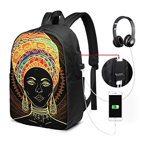 Sac à Dos Voyage avec USB Port, Afrique Femme Turban sur orné Sac à Dos Ordinateur Portable...