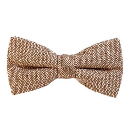DonDon Noeud papillon en coton pour homme 12 x 6 cm avec crochet déjà lié et réglable - marron clair - blanc