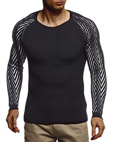 Leif Nelson Pull d'hiver basique en tricot chaud avec col rond LN7220 - Noir - Large