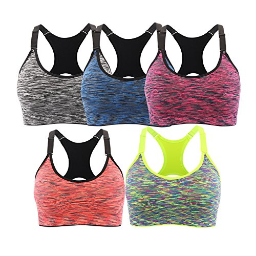 INIBUD Brassière Sport Femme Lot de 5 Soutien-Gorge de Sport Space Dye Seamless Sans Couture Sans Armature Multicolor (5pcs) - M