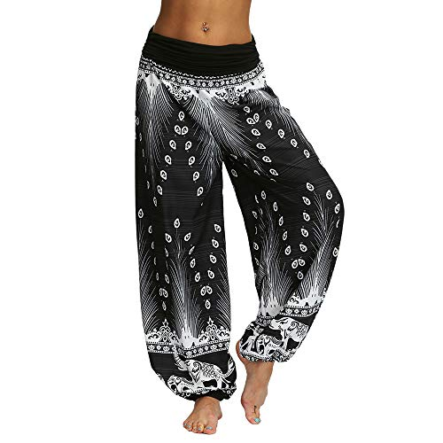 Nuofengkudu Femme Hippie Sarouel Pantalon Bouffant Baggy Boho Ethnique Thailande Harem Taille Haute Yoga Pants Été Plage Vacances (Noir B,S)