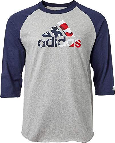 Adidas Maillot de baseball à manches courtes pour homme Motif graphique 3 / 4 - Gris - Small