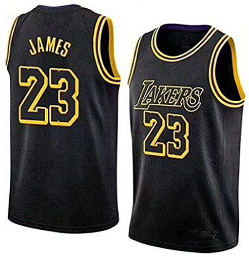 ZH1 Lebron James #23 - NBA Lakers Maillot Hommes Adulte Maillot De Basket Broderies Respirantes Et Résistantes À l'usure T-Shirt pour Hommes,Noir,XXL