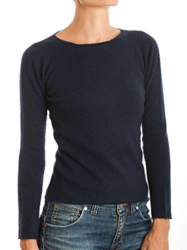 DALLE PIANE CASHMERE - Pull col Rond 100% Cachemire - Femme, Couleur: Bleu, Taille: L