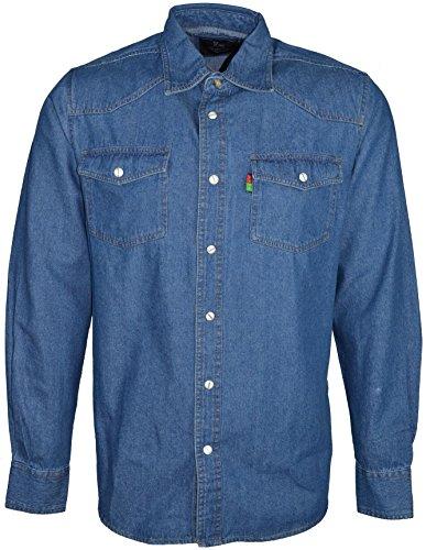 Duke Rockford Chemise en jean pour homme grande taille, bleue, manches longues, vert, xxl prix et achat