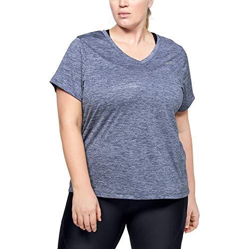 Under Armour T-shirt technique à manches courtes et col en V pour femme, Femme, Manches courtes, Tech V-neck Twist T-shirt, Encre bleue (497) / argent métallisé., X-Small