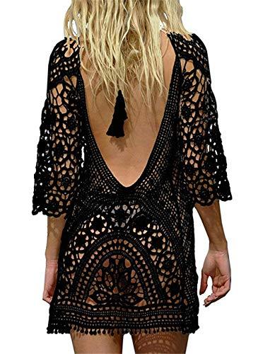 Paréo Femme Plage Mini Robes Grande Taille Tunique Pull Col V Kimono Bohême Mode Bikini Cover Up Crochet Blouse (One Size, Dos Nu Noir) prix et achat