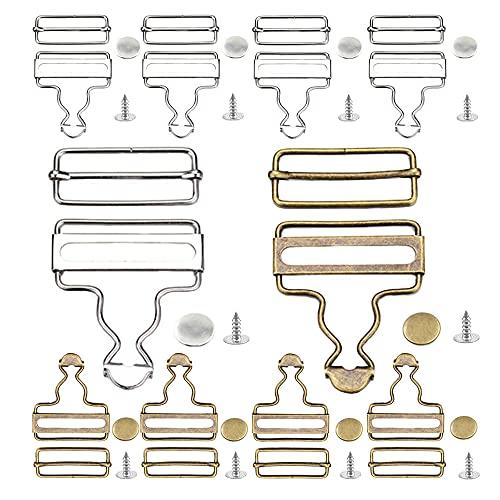 Zasvec Attache Salopette 10 Pièces 35 mm Boucles de Salopette en Métal Bouton Jean Ajustable avec Attaches Rectangulaires Coulissantes pour Salopettes Les Bretelles,Bronze/Argent