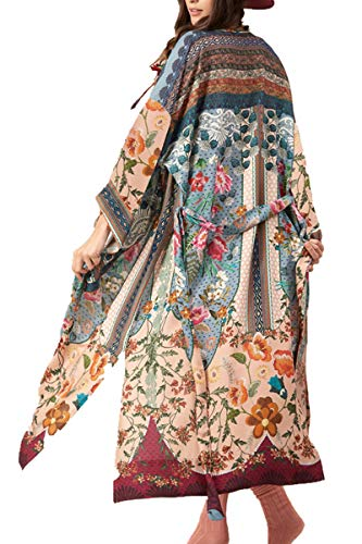 L-Peach Femme Longue Chiffon Imprimé Kimono Robe de Plage Paréo pour Maillot de Bain Cover ups, A-multicolore, Taille unique