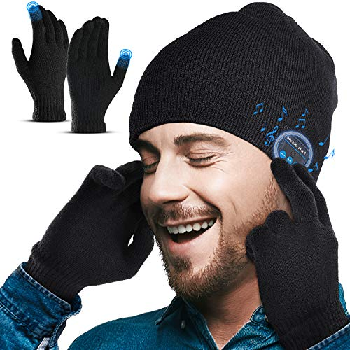 Lenski Homme Bonnet Bluetooth V5.0 avec Gants Tactiles, Idee Cadeau Homme Noel Original, Doux,...