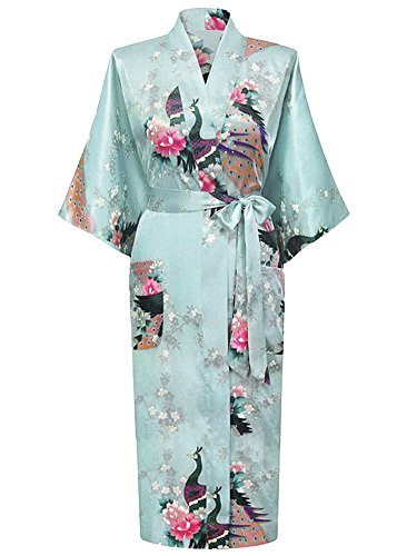HonourSport-Kimono Japonais en Satin Sexy Robe de Chambre Peignoir-Femme (Azur,XL)