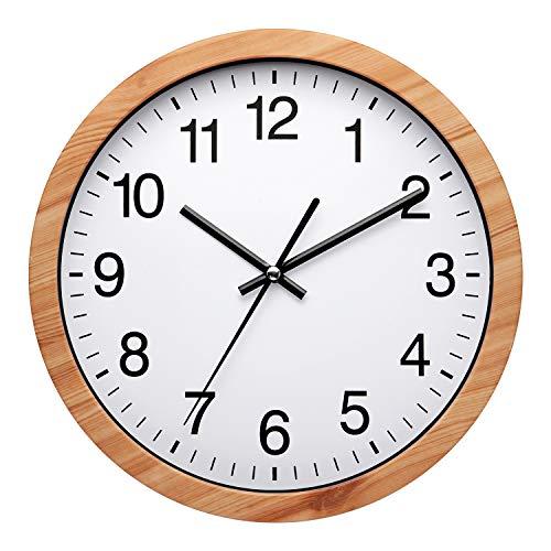 NUOVO Horloge Murale Ronde en Plastique Bois de 10 Pouces Horloge Murale rétro silencieuse et sans coutil fonctionnant pour la Cuisine de la Chambre à Coucher du Salon (26 cm / 10')