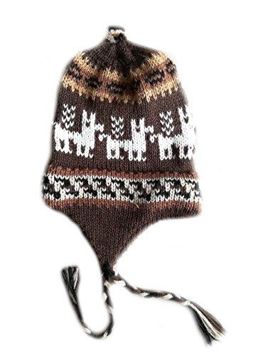 Alpacaandmore Bonnet unisexe en laine d'alpaga avec motif péruvien