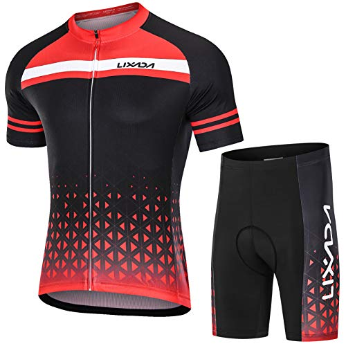 Lixada Maillot de Cyclisme Homme, Cyclisme Maillot Manches Courtes avec 3D Gel Shorts de...