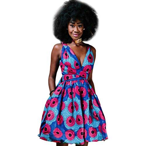 OBEEII Femme Africaine Robe Bohème Élégant 4D Imprimer Multi-Way Bandage Dress Bandage...