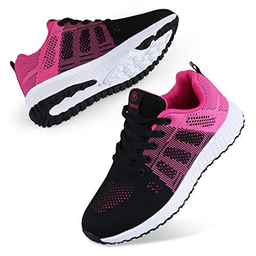 Youecci Femmes Baskets de Courses Running Chaussures de Sport Outdoor D'athlétisme Sports Course Fitness Gym Athlétique Sneaker Noir Rose Rouge 39 EU