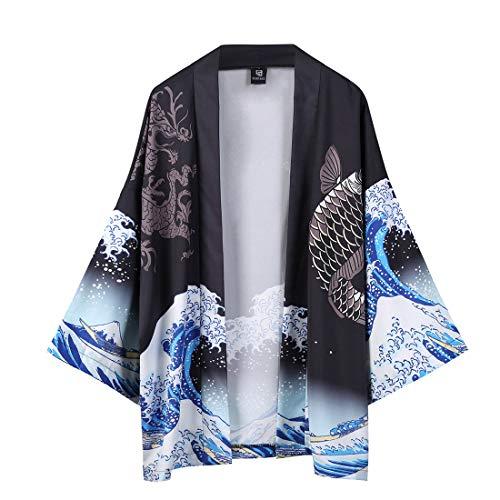 SAINDERMIRA Kimono Homme Japonais À Fleurs Floral Cardigan Cover Up Yukata Ouvert Devant...