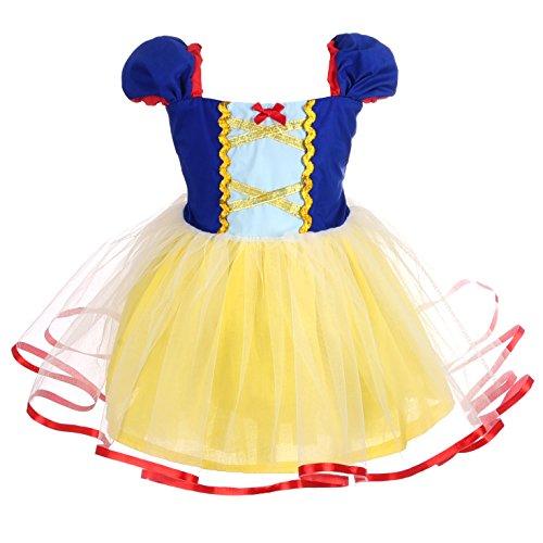 Lito Angels Deguisement Robe en Tulle Princesse Blanche Neige Enfant Fille, Anniversaire Fete Carnaval Costume Halloween, Taille 18-24 Mois