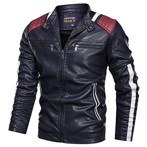 Vestes de Moto pour Hommes VêTements d'automne et d'hiver Col Montant Mi-Long Blousons de Moto...
