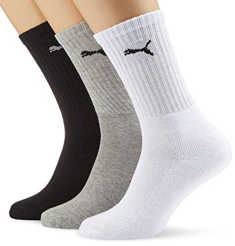 PUMA Sport - Chaussettes de Sport - Lot de 3 - À Logo - Homme - Blanc/Gris/Noir - 43-46