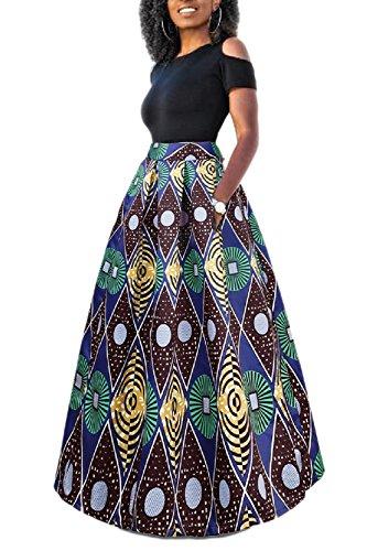 Yacun Femme Jupe Longue Africaine Robe Imprimé Floral Deux Pièces Traditionnelle bleurouge M