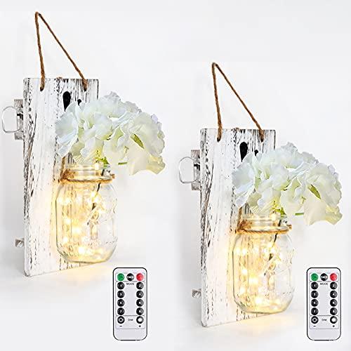 Lot de 2 Appliques Murales Mason Jar avec Télécommande - ZVO Lampes Murales en Bois Décoration Murale Lumineuse LED pour Chambre, Fête, Jardin, Noël, Terrasse, Décoration de Mariage (Gris)