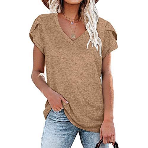Tee Shirt Femme Ete Grande Taille T-Shirt Col V Manche Courte Chic Top Sexy Tunique Décontractée Sport Basiques S-18XL prix et achat
