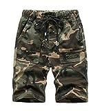 YoungSoul Short Camouflage Garcon Pantacourt Été Bermuda Taille Élastiquée Enfant Armée Verte 12-13 Ans Taille 170cm