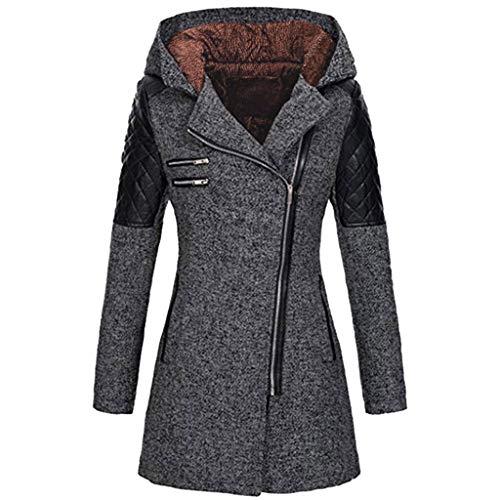 Manteau Femme Hiver, Manteau Zippé à Capuche Manteau éPais Slim Fit d'hiver Chaud Manteau Coat pour Femelles (M, Dark Gray)