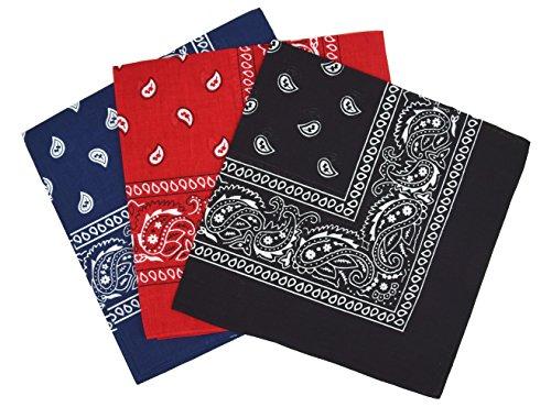 Bandanas paisley lot de 3 – Bandeau Foulard coton motif cachemire, accessoire cheveux...