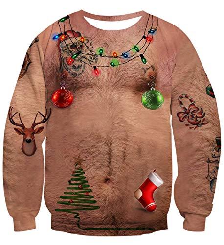 Idgreatim Unsiex Ugly Noël Pull Sweatshirts Poilu Poitrine Impression 3D Nouveauté Xmas Elf...