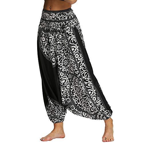 Nuofengkudu Femme Yoga Pantalon Sarouel Thailande Motif Ethnique Haute Taille Elastique Larges...