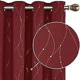 Deconovo : 2 Rideaux fenêtre occultants thermiques et isolant avec motif Argenté et oeillets 140×245 cm rouge