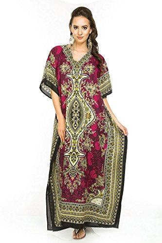 Looking Glam Neuf Femmes Surdimensionné Maxi Kimono Tunique Caftan Robe Caftan,Rose -...