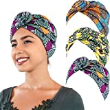 3 Pièces Turban Africain Écharpe de Tête Turban Bohème Bonnet Noué Élastique (Jaune, Orange et Vert)